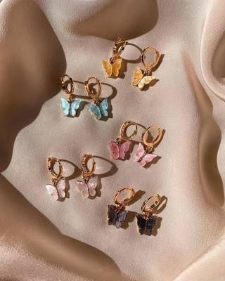 Blush Butterfly Huggie Earrings