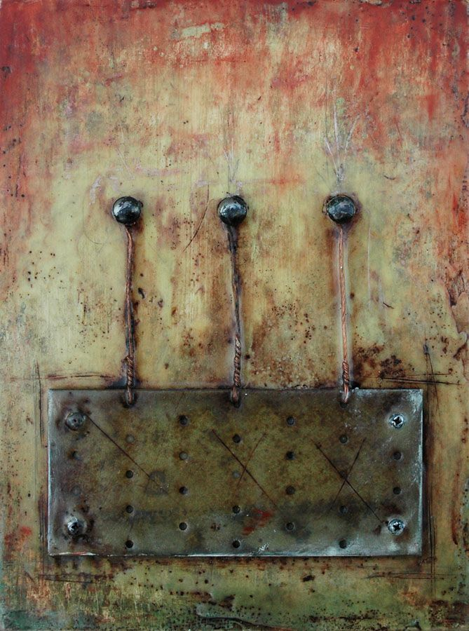 """Encaustic with Assemblage Art by Domenick Naccarato titled, """"Mending Plate Tethered To Three Bolts"""""""