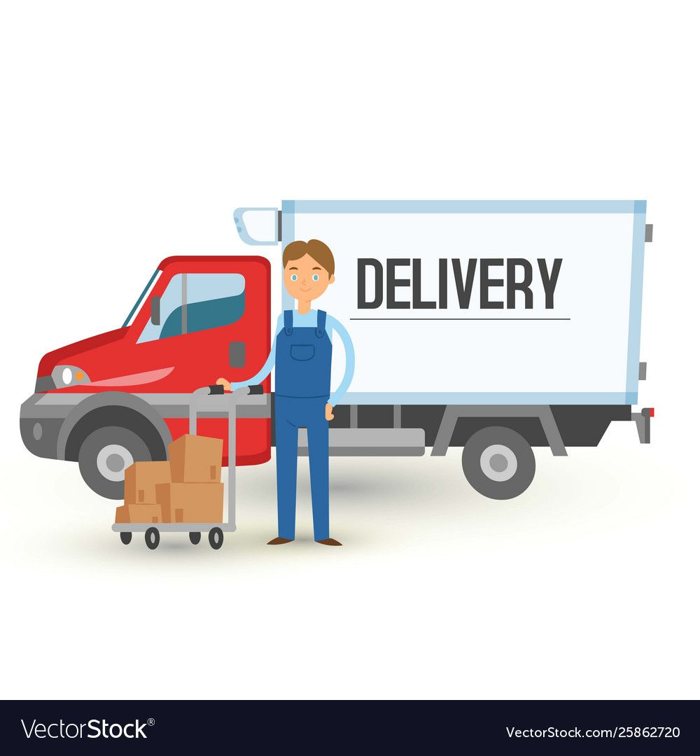 Delivery Truck Van And Man Service Background Man Vector Image