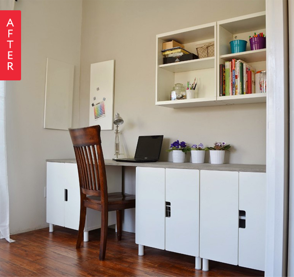 Before & After: IKEA STUVA Cabinet Becomes Built-In Desk | Apartment ...