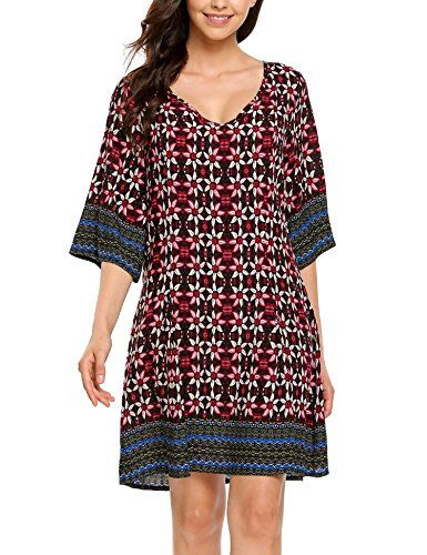 f4d005c1dee Boho-Chic Vacation   Fall Looks - Standard   Plus Size Styless - Elesol Women  Bohemian V Neck Vintage Printed Ethnic Summer Shift Tunic Dress Black1 L