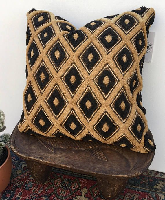Kuba cloth Pillow Black tribal design