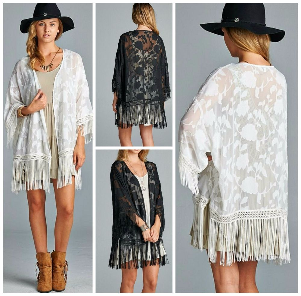 Bohemian Nights Black or White Long Fringe Chiffon Kimono Cardigan ...