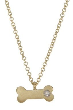 14K Yellow Gold Diamond Bone Necklace - 0.02 ctw
