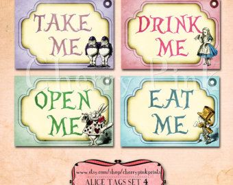 Alice in Wonderland Vintage Tags Set 2 Alice by CherryPinkPrints