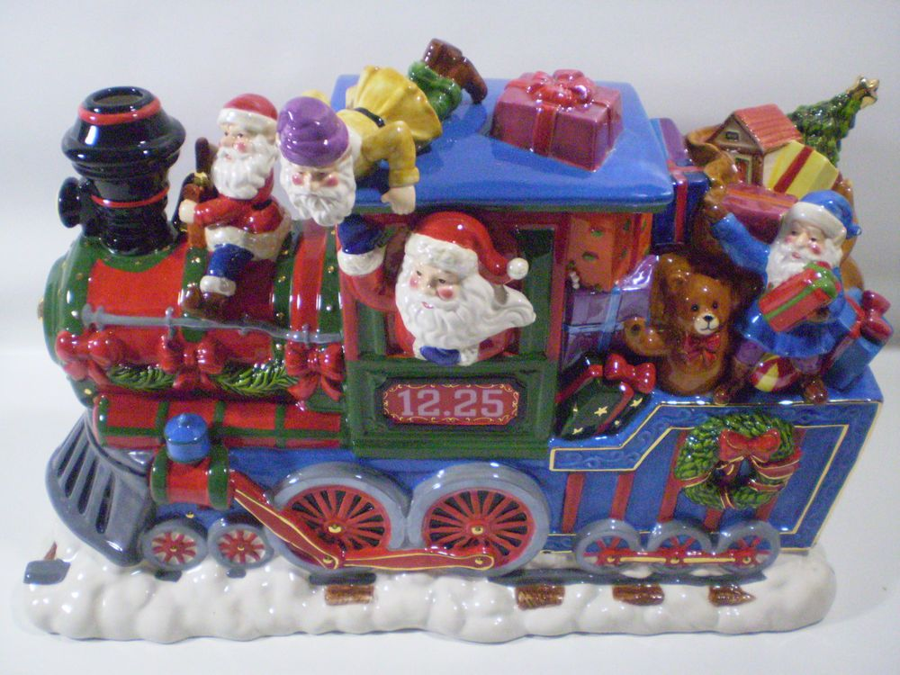 #Handpainted #Ceramic #Santa #Elves #Reindeer #Toys #Presents Express Train Centerpiece