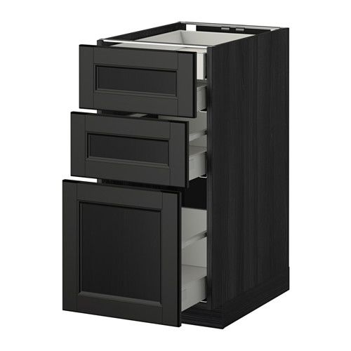 METOD / MAXIMERA Bänksk 3 frnt/2 låg/1 md/1 hög låda, svart, Laxarby