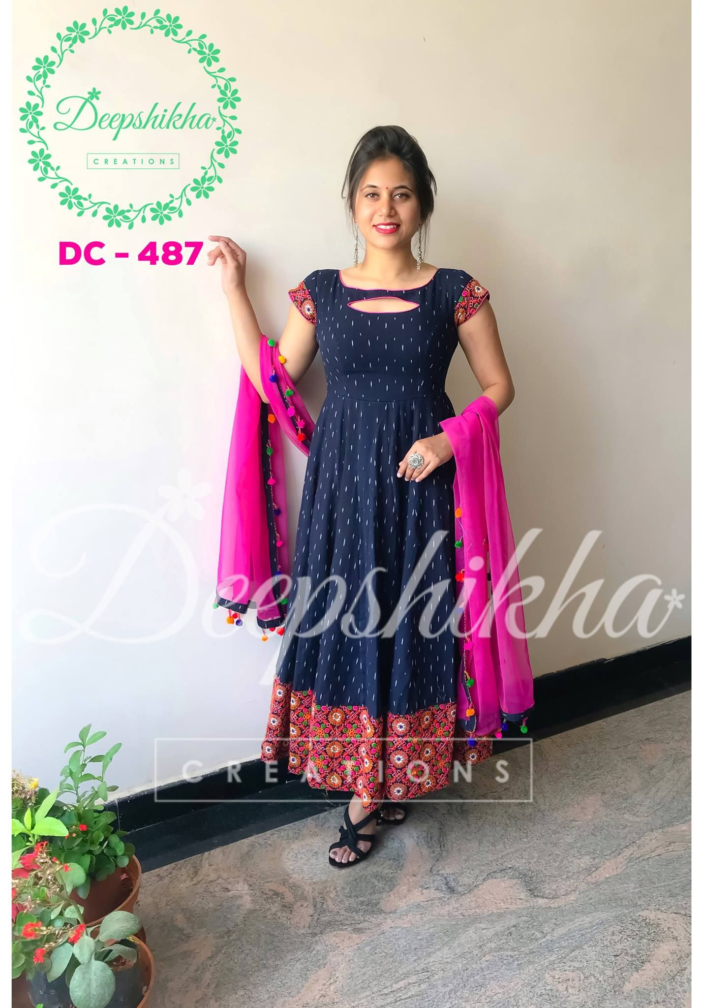 Beauitful Blue And Pink Color Combination Floor Length Dress With Net Tta
