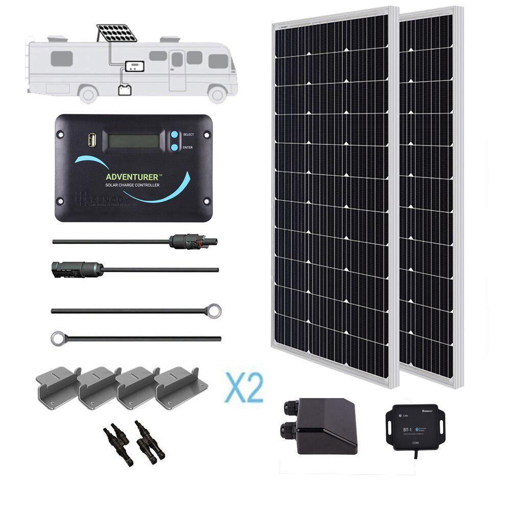 Renogy 200 Watt 12 Volt Monocrystalline Off Grid Solar System Rv Kit In 2020 Monocrystalline Solar Panels Solar Panels Solar Panel Installation