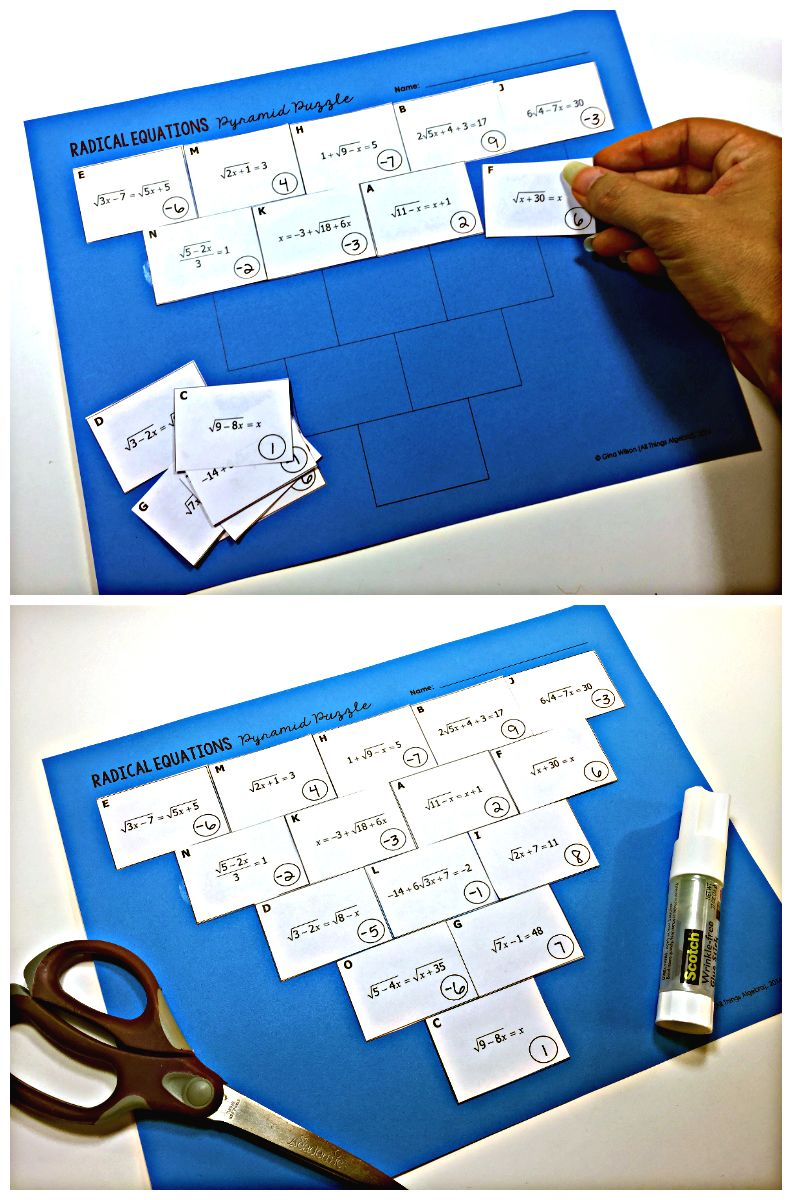 Radical Equations Pyramid Sum Puzzle | Making Math Meaningful