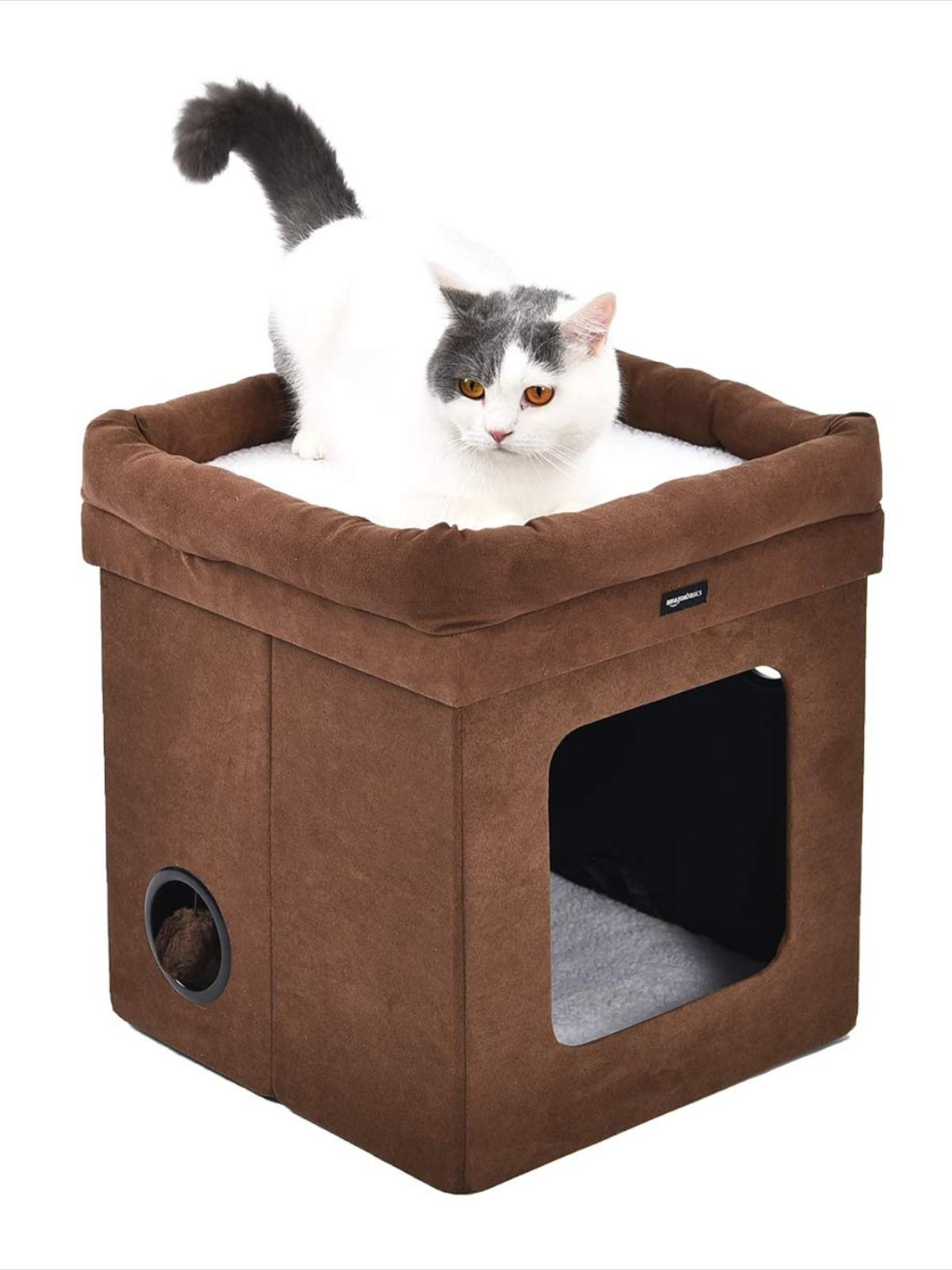 Cubeshaped cat house offers kitty a fun, relaxing place