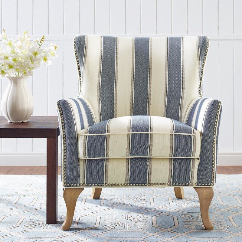 Best Zubair Armchair Blue Accent Chairs Striped Chair 640 x 480