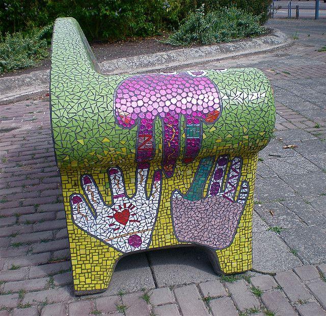 Mosaic bench                 #mosaic #furnitures