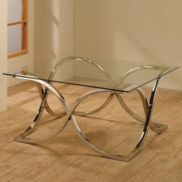 701918 CHROME TEMPERED GLASS TOP COFFEE TABLE