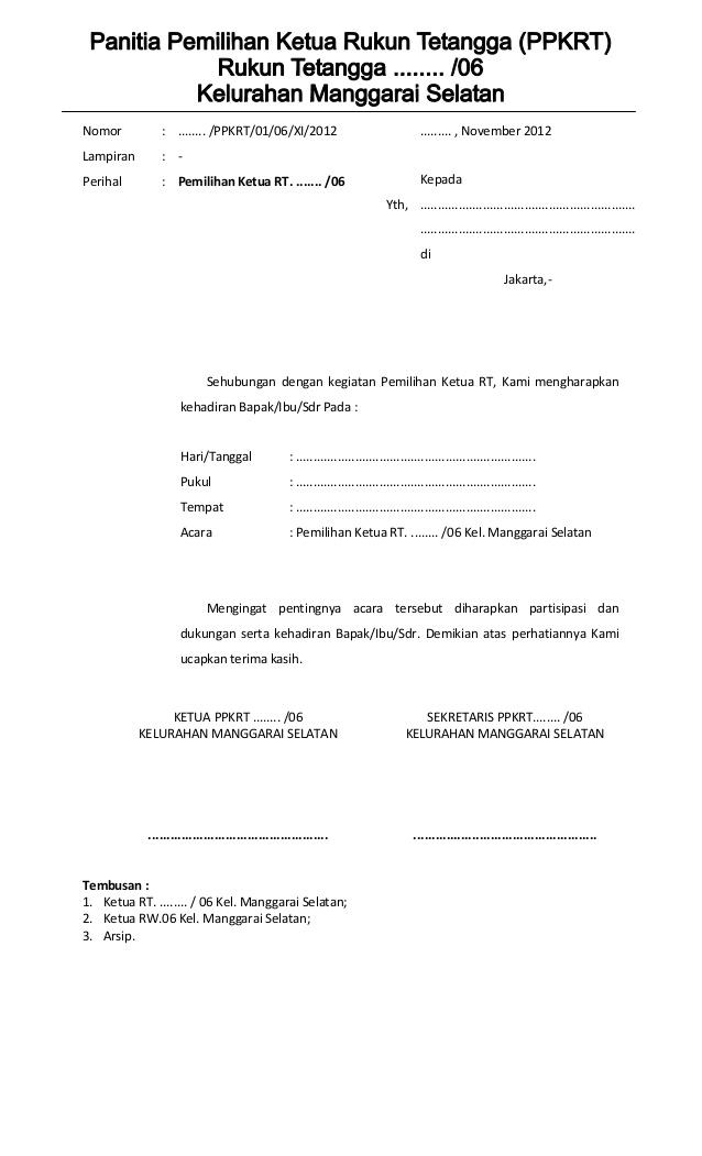 Form Pemilihan Ketua Rt Surat Penuaan Tanggal
