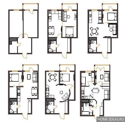 Перепланировка «хрущевки»: смежные варианты в двухкомнатной квартире   511x525