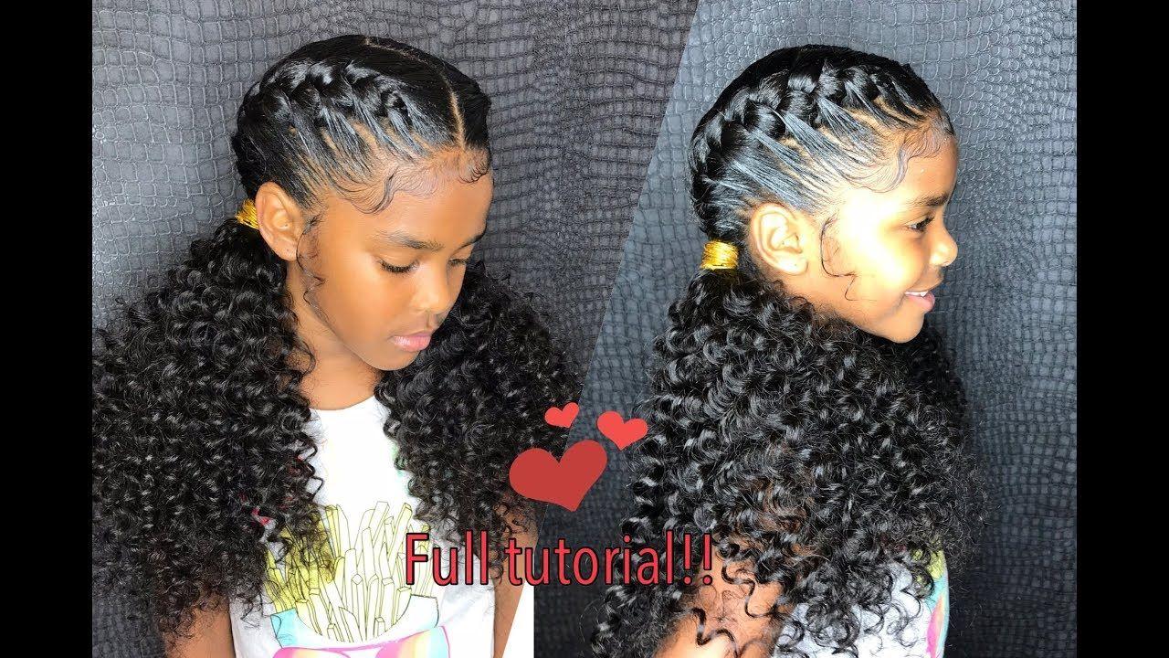 Little Girl Kids Goddess Braids Curly Ponytail Ends Tutorial Kids Goddess Braids Goddess Braids Two Braid Hairstyles