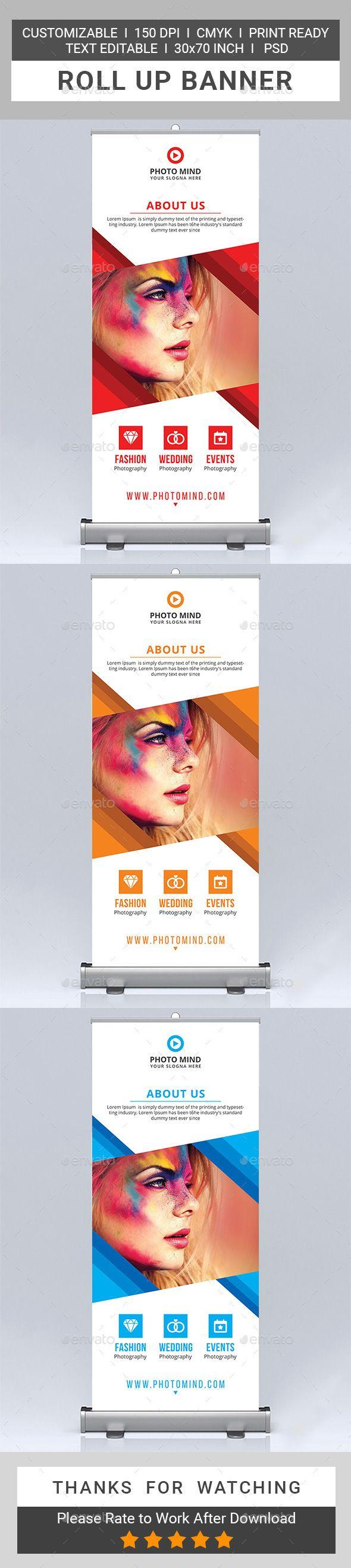 Photography Roll Up Banner Design Template - Signage Ads Banner Design Print Tem...