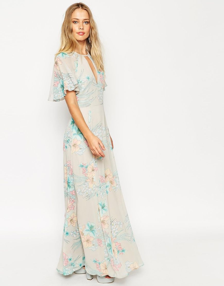 ASOS 70's Faded Floral Flutter Sleeve Maxi Dress | Hijab ...