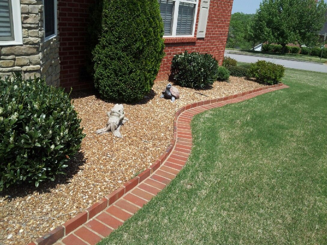 Brick edging and rock flower bed Home decor Outdoor