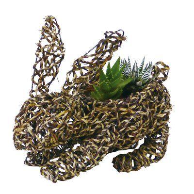 "Gardener Select Large Bunny Rope Topiary 14"" Rattan Statue Planter"