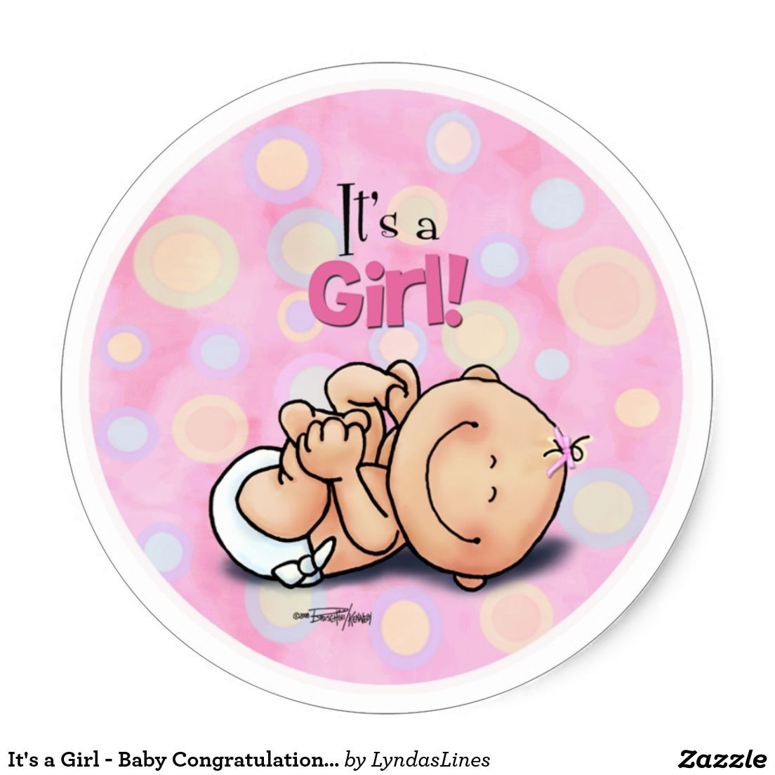 Its A Girl Baby Congratulations Stickers Girl