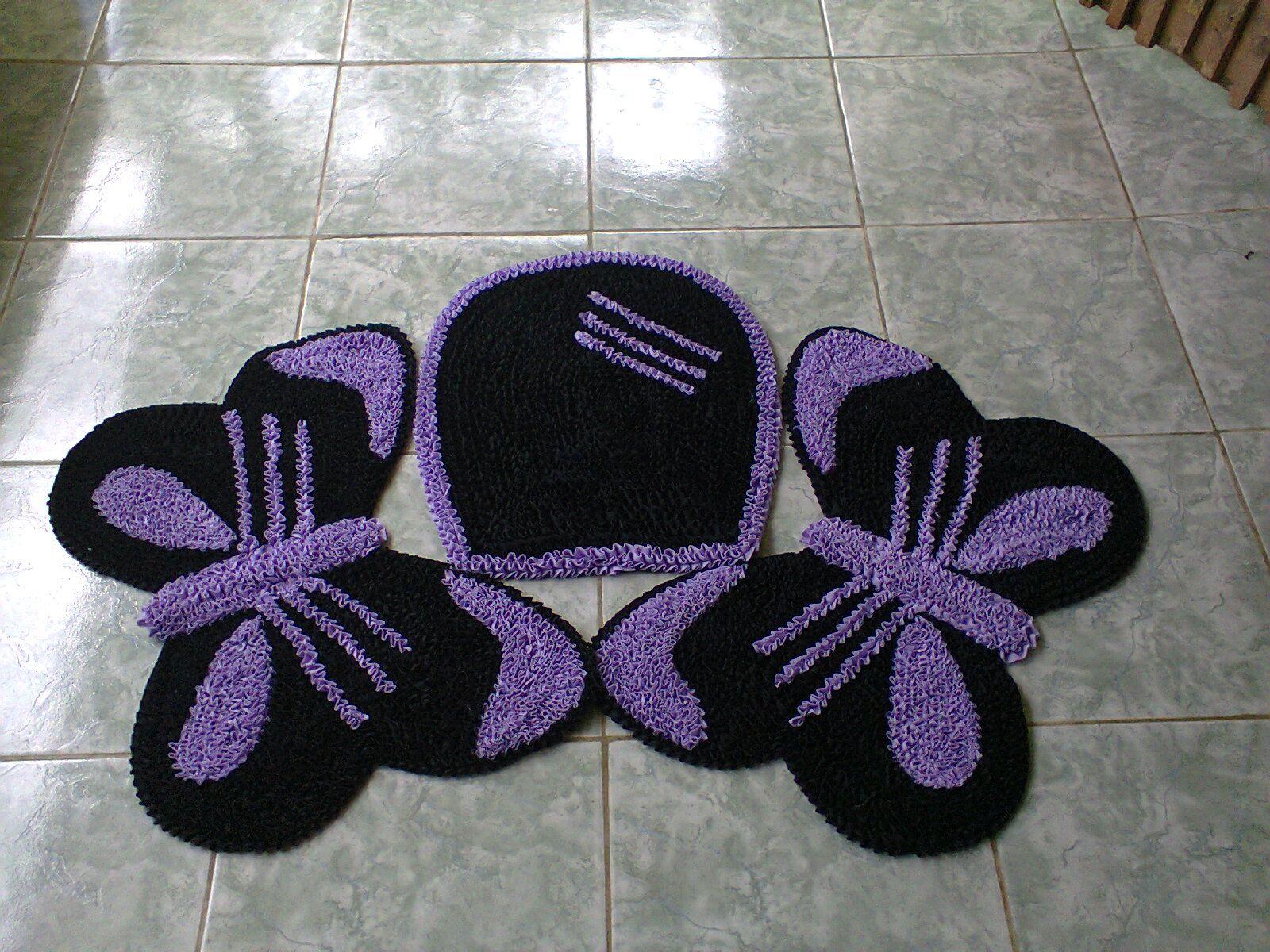 jogo de banheiro  borboleta preto com lilas