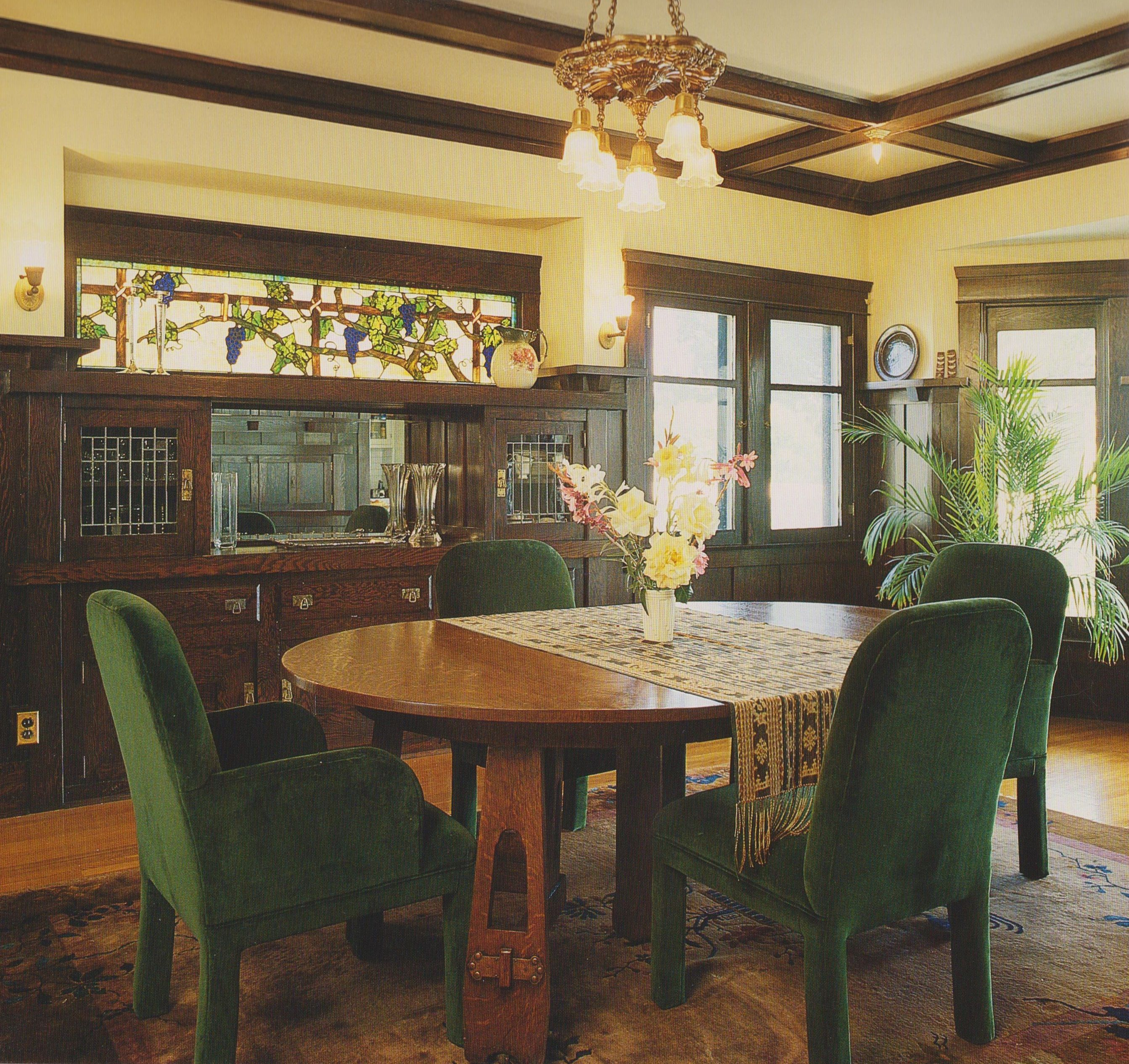 """This dining room is filled with handsome wooden ..."