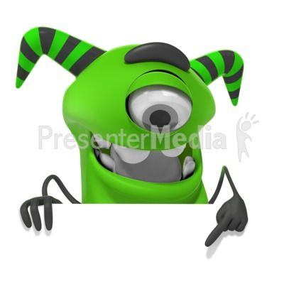 this clip art image shows a cute monster figure pointing down rh pinterest com powerpoint clipart free download powerpoint clipart free
