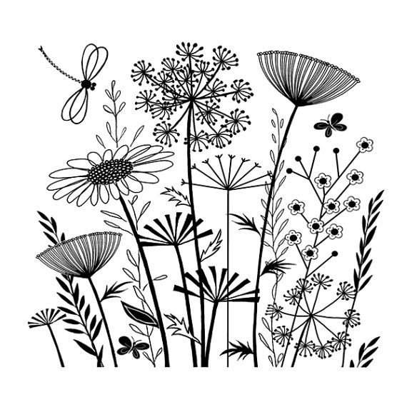 Summer Garden – Unmounted Red Rubber Stamp – Crafty Individuals – Made in UK – Grasses Flowers – 3.5 x 3.25 in – Collage – Vintage Inspired