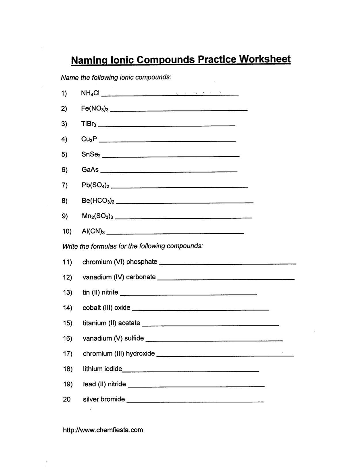 Naming Binary Ionic Compounds Worksheet In