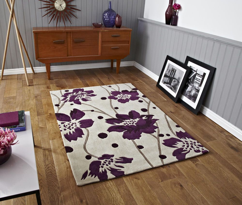 rug modern floral flower cream purple small medium large