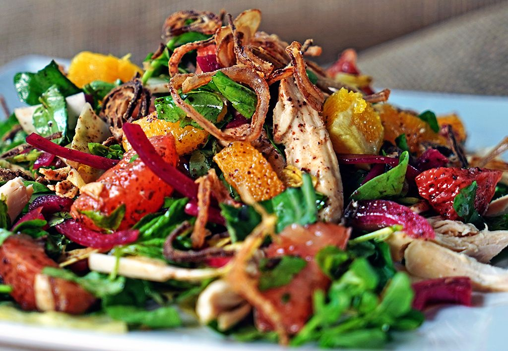 Pink Grapefruit and Chicken Watercress Salad with Crispy Shallots
