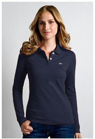 Camiseta Polo Manga Longa Feminina Lacoste mod7794 …  2a890c8b46e42