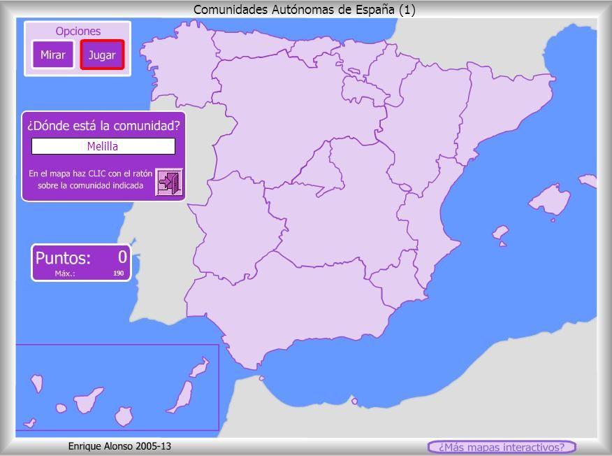 Mapa interactivo para aprender las comunidades autnomas