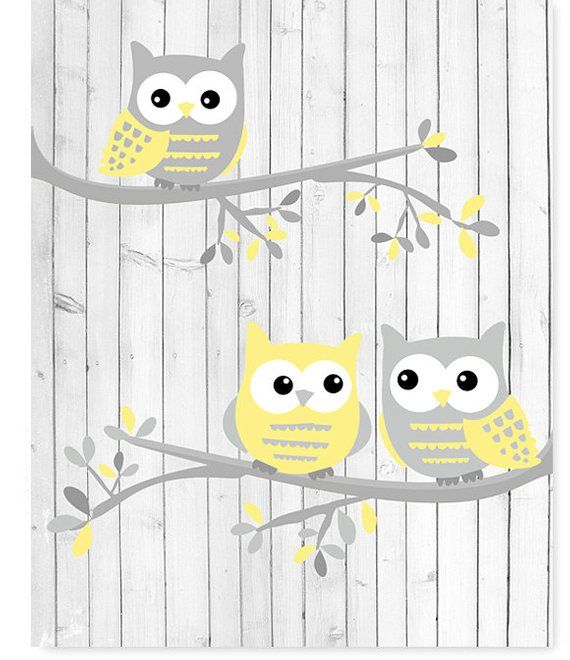 Owl Nursery Art White Gray Pale Yellow Owls on Branches | Etsy