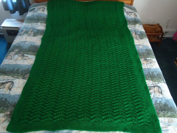 Kelly Green Hand Knitted Chevron Afghan Blanket by CraftsbyCummins