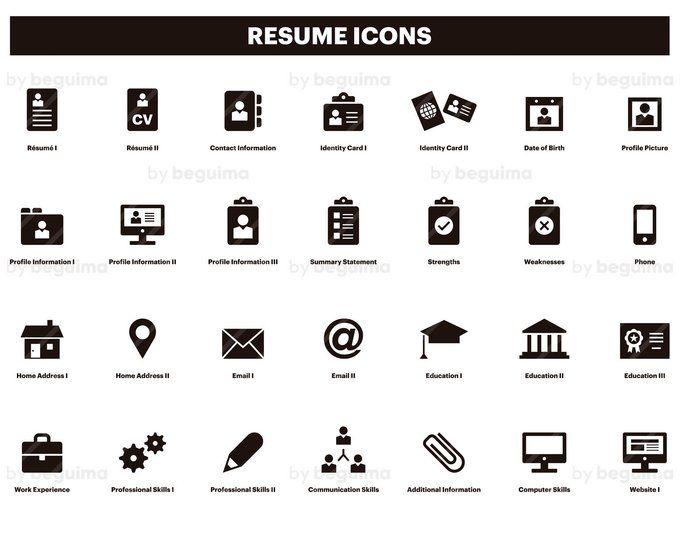 Resume,Icons,CV,Clip Art,Curriculum Vitae,Clipart,Set Of