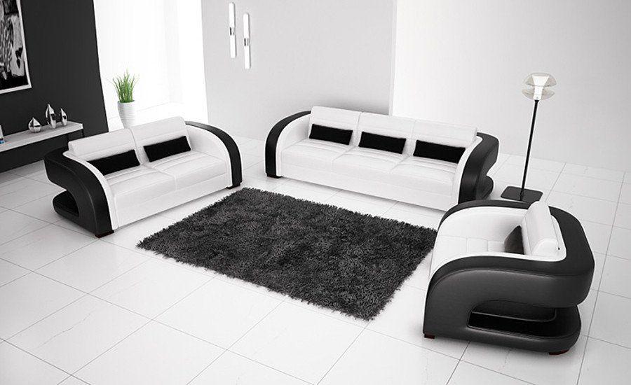 Classic Black White Genuine Leather Solid Wood Frame Modern Sofa