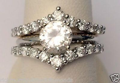 1ct Prong Set Solitaire Enhancer Diamonds Ring Chevron Guard Wrap 14k White Gold