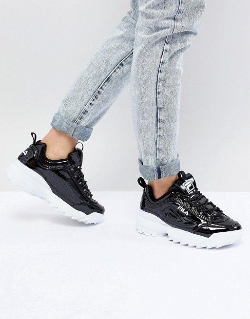 hot sales 0fb2e 5d7c8 Fila   Fila Disruptor Sneakers In Patent Black