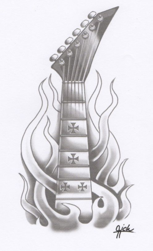 Amazing Grey Ink Flaming Guitar Tattoo Design