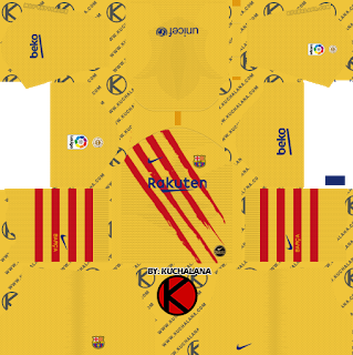 F C Barcelona 2019 2020 Nike Senyera Kit Dream League Soccer Kits Soccer Kits Goalkeeper Kits Football Team Logos