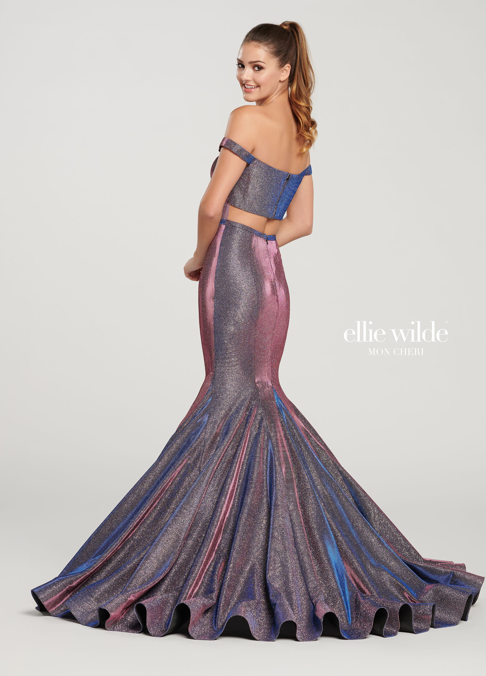 Ellie Wilde EW119061 - Live out your mermaid fantasies in this illuminating  off-the-shoulder novelty stretch glitter mermaid gown with princess lines fe0d56ddd