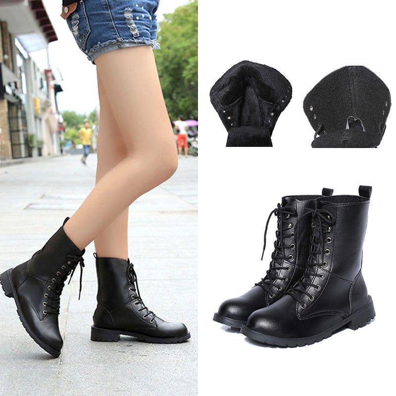 c1ac37369634b Women Black Punk Military Combat Army Lace-Up Short Martin Boots Flat Shoes  Sale
