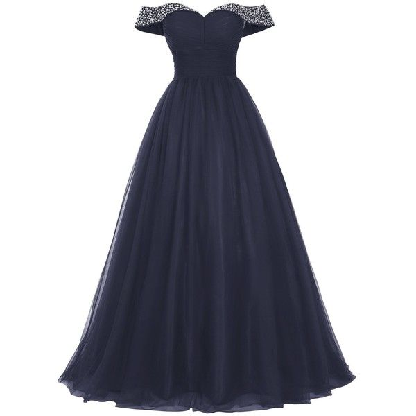 Bridesmay Long Tulle Prom Dress Beaded Off Shoulder Evening Gown... (695 SEK) ❤ liked on Polyvore featuring dresses, off shoulder homecoming dress, off shoulder formal dress, off-shoulder dresses, long prom dresses and formal dresses