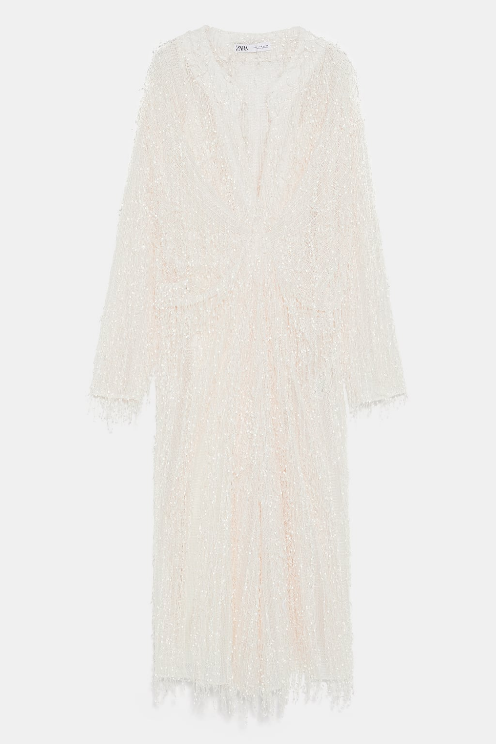textured weave dress with fringe - new in-woman | zara