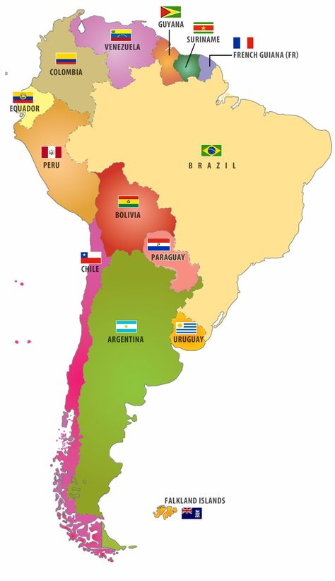 South American Map With Flags South America Map South American Maps South American Countries