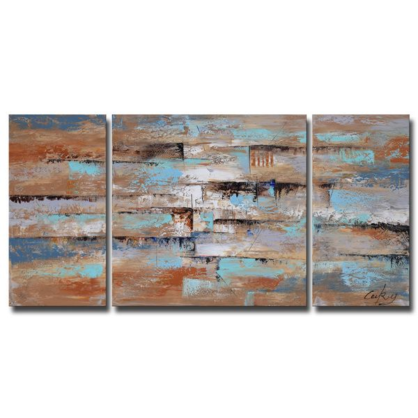 Hand-painted 'Abstract 649' 3-piece Gallery-wrapped Oil on Canvas Set - Overstock Shopping - Top Rated Otis Designs Canvas