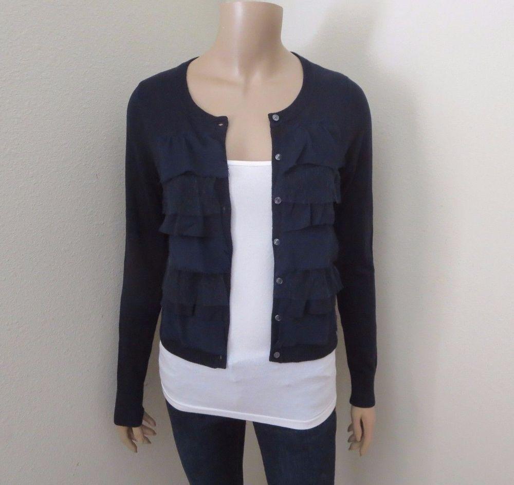 NWT Abercrombie Womens Ruffle Cardigan Size Medium Sweater Navy ...